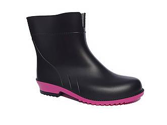 Гумові чоботи жіночі чорні короткі