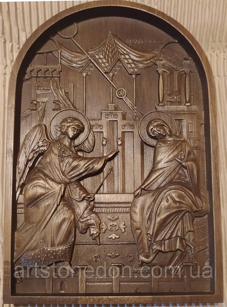 Икона Божией Матери  «БЛАГОВЕЩЕНИЕ ПРЕСВЯТОЙ БОГОРОДИЦЫ» резная