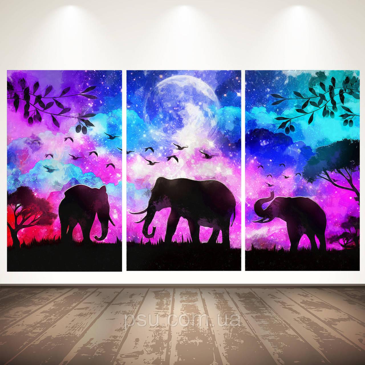 Модульная картина на холсте. Слоны. Триптих