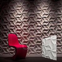 """Гіпсові 3д панелі для стін """"Орігамі"""" з високоякісного гіпсу Кнауф Р-10 50x50"""