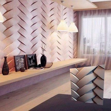 """Декоративная 3д панель """"Переплет"""" для отделочных работ на стенах из гипса 50x50, фото 2"""