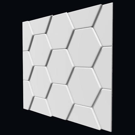 """Гіпсова 3д Панель """"Черепиця"""" для стін і стелі з гіпсу Кнауф Р-10 50x50, фото 2"""