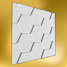 """Гіпсова 3д Панель """"Черепиця"""" для стін і стелі з гіпсу Кнауф Р-10 50x50, фото 3"""