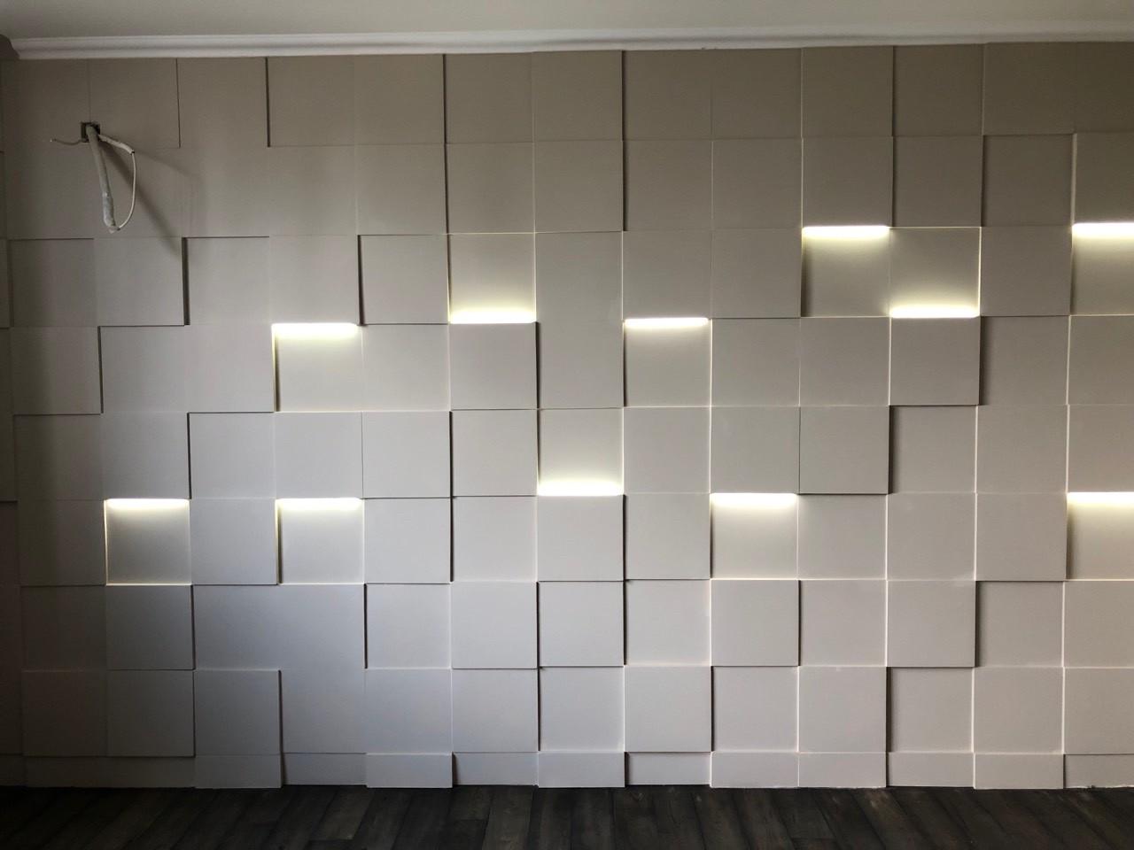 """3д панели с подсветкой """"LED квадраты"""" для внутренних работ и интерьера 25x25"""