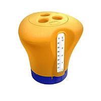 Дозировочный поплавок для Бассейна Дозатор Kokido K619BU (табл. 75 мм) оранжевый с термометром, фото 1