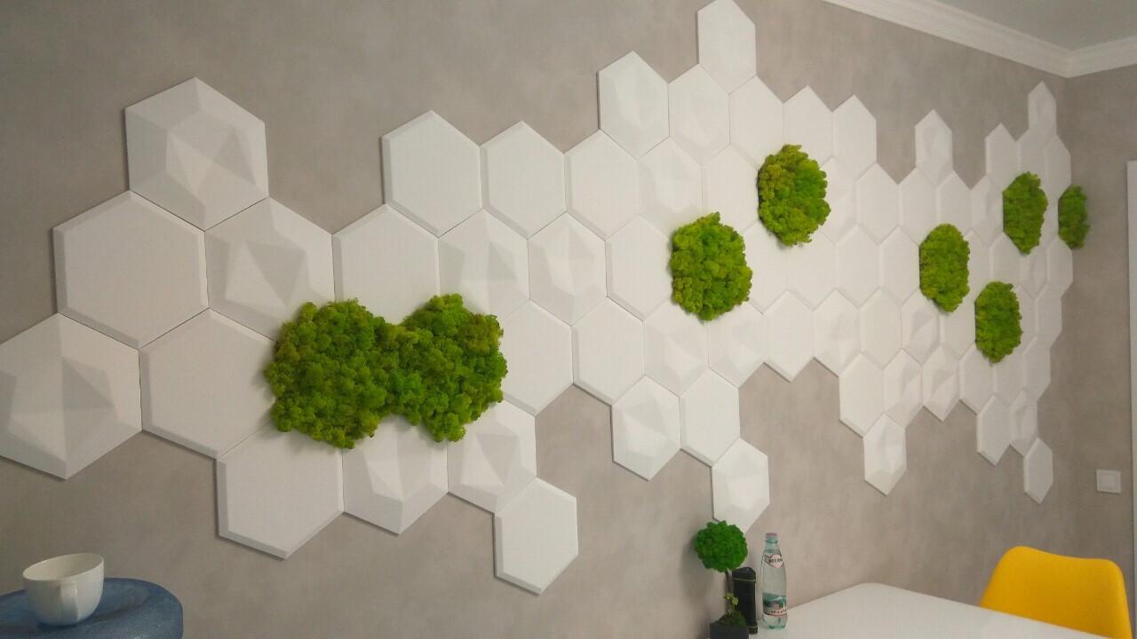 """Гипсовые 3д декоративные панели под мох для стен и потолков """"Соты"""" 25 шт"""