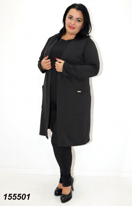 Женский черный трикотажный кардиган большого размера  48 50,52,54,56