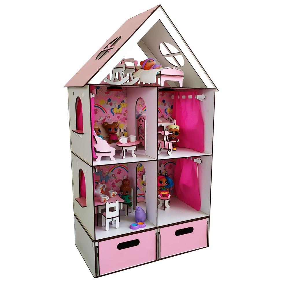Домик LITTLE FUN maxi с мебелью, текстилем и БОКСОМ для игрушек.