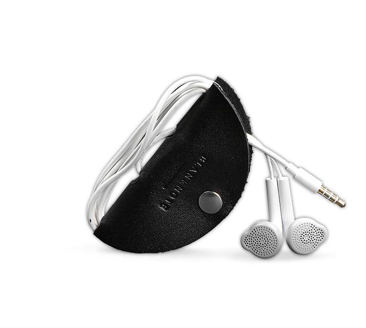 Холдер, чохол для навушників шкіряний чорний