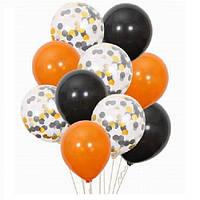 Набор воздушных шаров на Halloween с конфетти 30 см - 10 шт