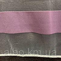 Якісний білий тюль з фатину з білими і фіолетовими смужками на метраж, висота 2,8 м (ROWI-2), фото 4