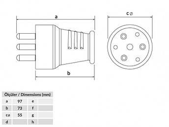 Вилка силова переносна BEMIS 3P + N 380-415В 25А каучук IP44, ВК 1-2504-4011, фото 2