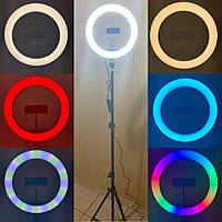 Кольцевая лампа 26 см RGB со штативом на 2м для телефона цветная селфи кольцо кольцевой светодиодное led