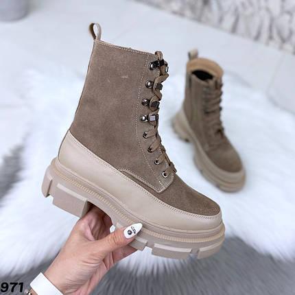 Бежевые ботинки женские замшевые натуральные 971, фото 2