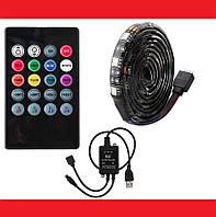 Светодиодная лента 5V USB LED 5050 RGB комплект 5 метров, разноцветная (с микрофоном), фото 1