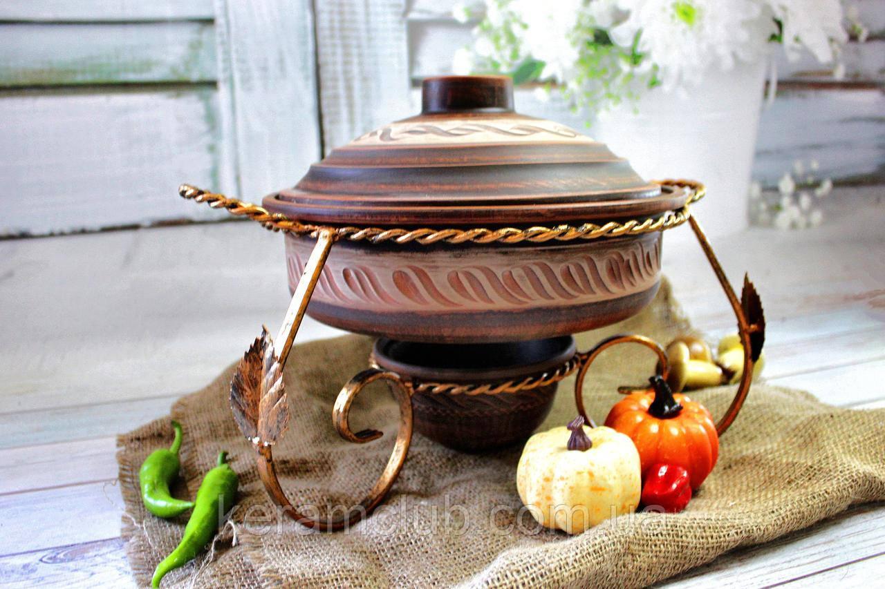 Садж для подачи мясных блюд КерамКлуб с жаровней Ангоб V 3 л КерамКлуб