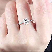 Женское кольцо с серебряным кристаллом, медсплав, кольцо с сверкающими камушками СС1719-75