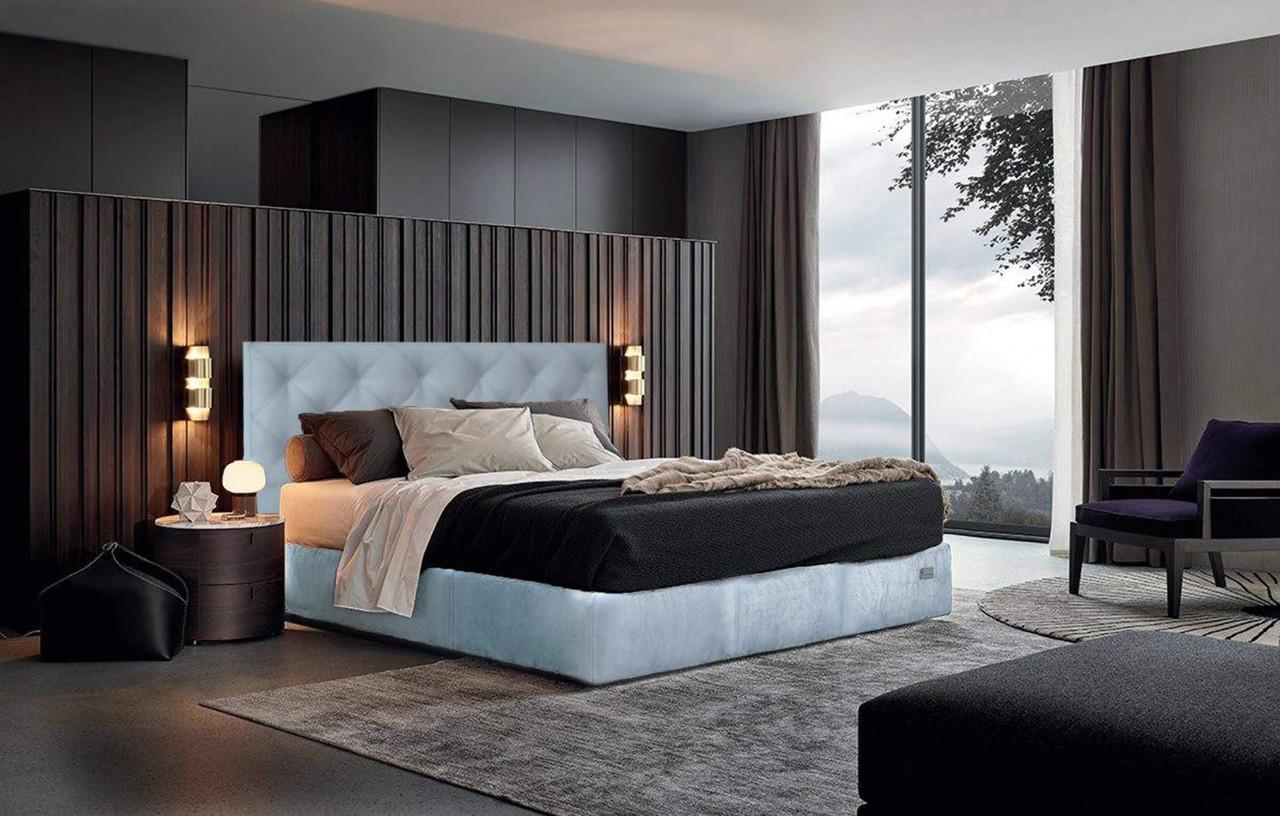 Кровать Двуспальная Bristol VIP 160 х 190 см Cervo 31 С дополнительной металлической цельносварной рамой Синяя