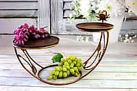 Кованая подставка  37*50*25 см с тарелками из красной глины d 20 см и d 25 см КерамКлуб, фото 1