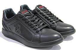 Мужские кожаные черные кроссовки, замеры в описании