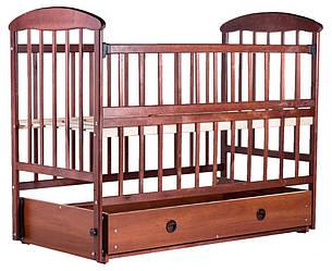 Детская кроватка   маятник и ящик, откидной бок ольха темная
