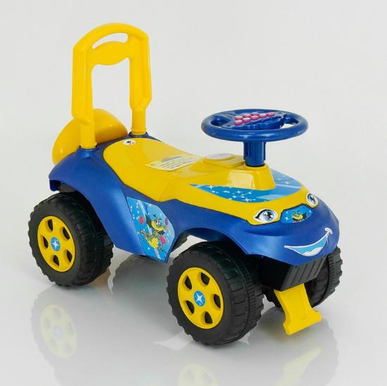 """Детская музыкальная машинка-каталка DOLONI TOYS """"Автошка"""" 0142/U/04 синяя с жeлтым"""