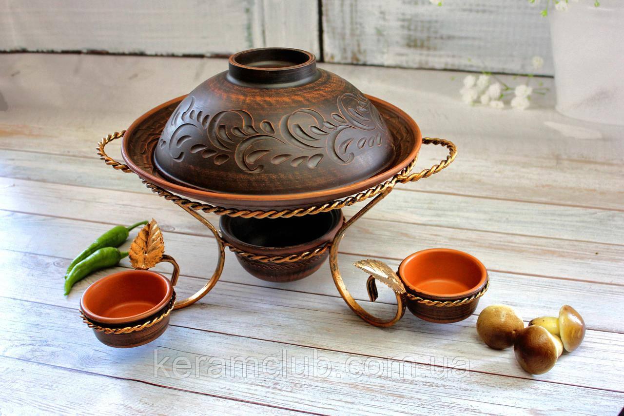 Садж для подачи мясных блюд с шашлычницей и соусниками из красной глины