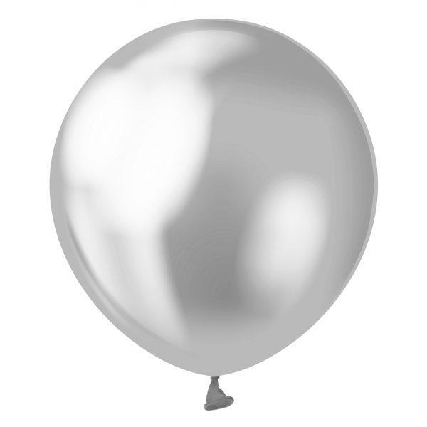 Латексна кулька хром срібний 5″ /13 см Silver Kalisan