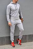 Мужской комбинированый спортивный костюм весна-осень. Худи серое с капюшоном + штаны черное, фото 5