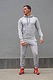 Мужской комбинированый спортивный костюм весна-осень. Худи серое с капюшоном + штаны черное, фото 6