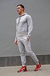 Мужской комбинированый спортивный костюм весна-осень. Худи серое с капюшоном + штаны черное, фото 7