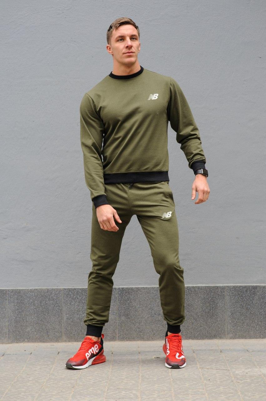 New Balance мужской хаки спортивный костюм осень весна.New Balance свитшот хаки штаны New Balance хаки