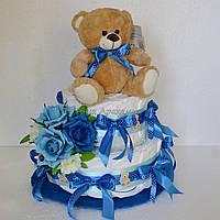 Торт из памперсов для мальчика (синий)