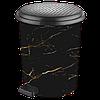 Ведро для мусора с педалью 17л Elif-366 Черный мрамор, фото 2