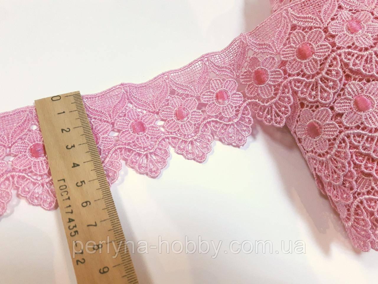 Мереживо кружево макраме 5.5 см. Рожеве. Пакістан. Ціна за 1 метр