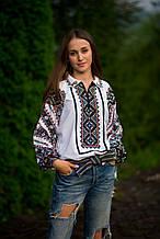 Жіноча вишиванка бісером - модна,святкова і сучасна з комірчико.