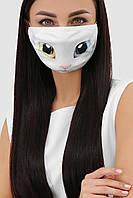Защитная маска многоразовая белая с принтом кошки