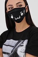 Черная защитная маска многоразовая стильный принт