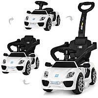 Детский электромобиль каталка-толокар M 3592 L-1, Porshe, кожаное сидение, белый