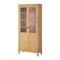 HEMNES Шкаф с глух/стекл дверц, светло-коричневый