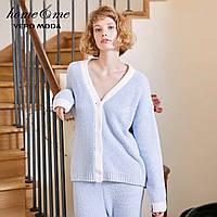 Женская пижама теплая с длинным рукавом. Теплая пижама для дома сна, р. М (голубой)