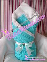 Вязаный зимний конверт-плед для новорожденных