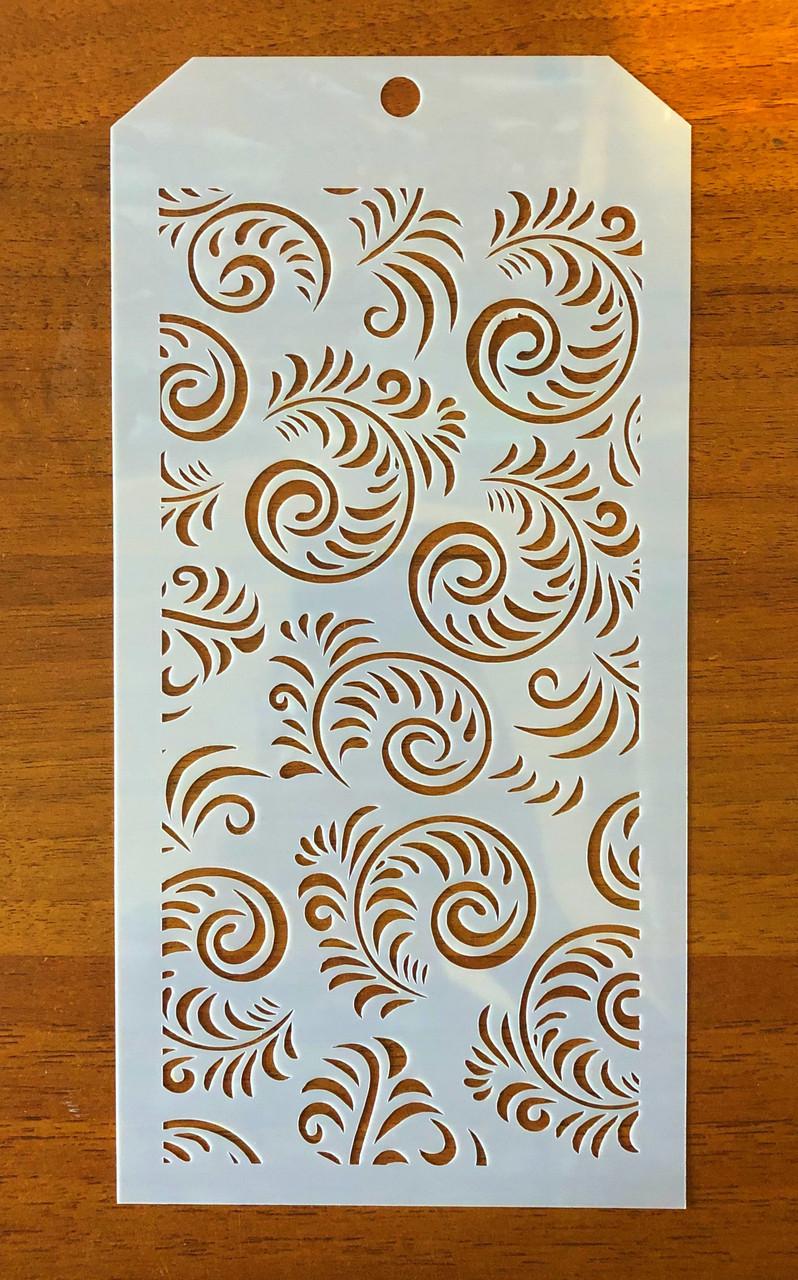 Трафарет многоразовый пластик 107 теснение штамп на стены шаблон Завитки узоры для скрапбукинга 120*240 мм