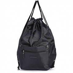 Рюкзак мешок для обуви на шнурках черный с карманами Dolly 831