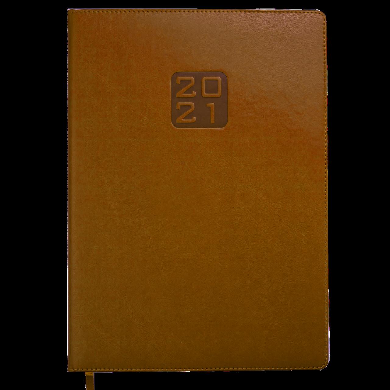 Ежедневник датированный в линию Buromax 2021 Bravo, 336 страниц, A4 коньячный
