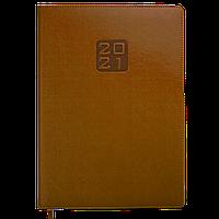 Ежедневник датированный в линию Buromax 2021 Bravo, 336 страниц, A4 коньячный, фото 1