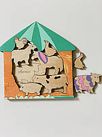 Дерев'яний сортер Intellect Wood домашні тварини 20*20 рамка вкладиш (s00007)