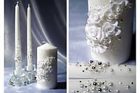 Набор свадебных свечей белый
