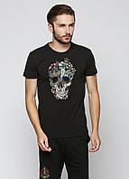 Модная черная футболка мужская с черепом хлопок