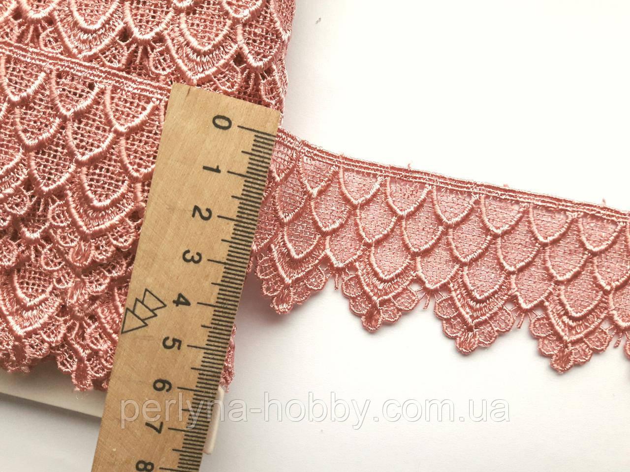 Мереживо кружево макраме 4см.  Бежево-рожеве. Пакістан. Ціна за 1 метр